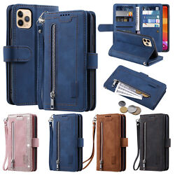 Fr Iphone 12 11 Pro Max Xr Xs X 7 8+ Leather Flip Zipper Purse Wallet Case Cover