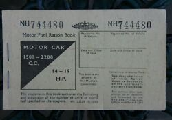 Vintage Motor Fuel Ration Book 1501-2200 C.c. Nh744480 Issued Circa 1950and039s Prop
