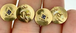 Vintage Shriners10kt Yellow Gold And Enamel Masonic Men's Cuff Links4.7 Grams