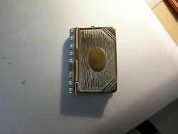 Antique Novelty Silver Combination Vesta And Stamp Case Shaped As A Book