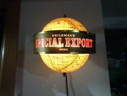 Heileman's Special Export Beer Lighted Rotating Globe Beer Sconce. Lot1
