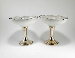 Pair Of Frank M Whiting Sterling Compotes With Fenton Bowls