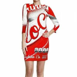 Bnwt Moschino Womens Couture Red Coca Cola Shift Dress 3/4 Low-cut Back Uk 10