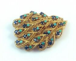 Exquisite Mid Century Sapphire Turquoise And 14k Gold Brooch Pin