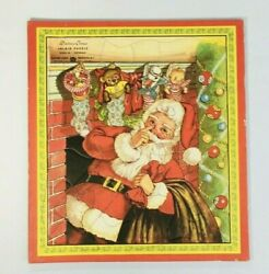Vintage 1940s Or 1950s Playtime House Inlaid Tray Puzzle Christmas Santa Claus