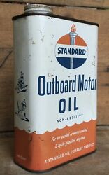 Vintage 1qt Standard Outboard Motor Oil Tin Can Boat Lawn Mower Graphics Nos