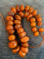 Vintage African Copal Amber Beads 34 Pc Beautiful Top Quality Necklace