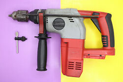 Milwaukee 0756-20 V28 Rotary Hammer Drill And 1/2and039and039 Jacobs Head Andchuck Key Andhandle