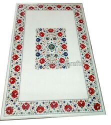 30 X 60 Inches Marble Reception Table Top Inlay Art Dining Table With Royal Look