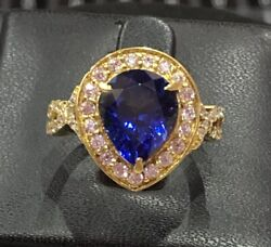 14k Yellow Gold Natural Blue Tanzanite And Diamond Pear Sizable Women Ring--s70