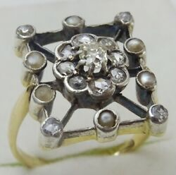 Unique Antique 14 Karat Gold And Silver Diamond And Pearl Ring