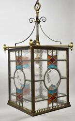Antique Brass Leaded Stained Glass Foyer Chandelier Circa 1920's