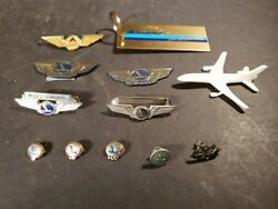 Eastern Airlines 10k Gold 1/10 Sapphire Pin Key Ring Delta Airplane More Vtg