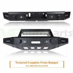 Heavy Duty Steel Front Rear Bumper With D-rings And Led Lights For Ford F150 15-17