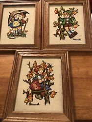 3 Vintage Hummel Crewel Embroidery Framed Andlsquo75 National Paragon 10-1/2andrdquo X 12-1/2andrdquo