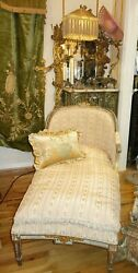 Stunning French Antique Fainting Chaise Sofa Upholstered Antique Fabric C1800's