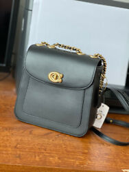 Coach Madison Brass Black 18quot; Refined Calf Leather Crossbody Backpack 4690 $169.99