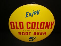 Circa 1940s Old Colony Root Beer 9-inch Celluloid Button Sign