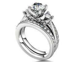 1.75 Ct Round Cut Simulated Diamond 14k White Gold Engagement And Wedding Rings