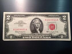 1963 Two Dollar Bill Jefferson Extra Fine Red Seal