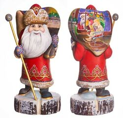 Hand Carved Santa Claus Figurine 12 Hand Painted Ded Moroz Father Frost