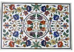 30 X 48 Inch Marble Hall Table Top Inlay Coffee Table With Colorful Flowers Art