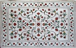 36 X 60 Marble Dining Table Top Floral Art Meeting Table With Carnelian Stone