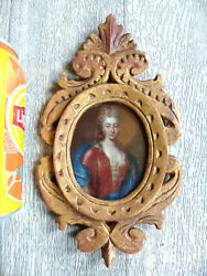 18th C. Large And Fine Miniature Portrait Woman Oil On Metal W. Gilded Wood Frame