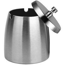 3xoutdoor Ashtray With Lid For Cigarettes Stainless Steel Windproof/rainproof