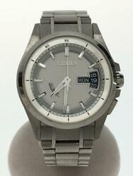 Citizen Attesa H10a-t020402 Analog Titanium Eco-drive Day Date Work From Japan