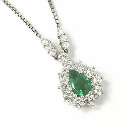 18ct White Gold Emerald Diamond Necklace Green 16 Inch Chain Pear Shape Round