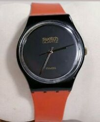Swatch Watch Black Magic Original Swiss Red Band Gb101 Collectible 1983 Gold Acc