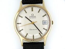 Omega 33.5mm. Geneve Date Automatic Yellow Gold 9k Ba 162.0033 Year 1965
