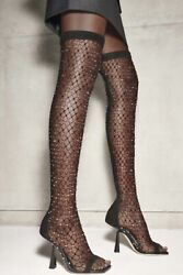 Jimmy Choo Black Suede And Crystal Mesh 'mixon 100' Over-the-knee Boots Sample