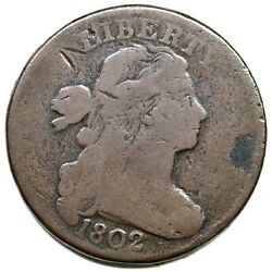 1802 S-236 Draped Bust Large Cent Coin 1c