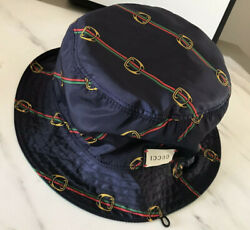 NWT $780 GUCCI BUCKET DOUBLE SIDE HAT GREEN BLUE SIZE L ITALY $400.00