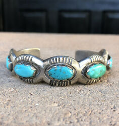 Vtg 1920and039s Navajo Ingot Chiseled Coin Silver Cast Turquoise Indian Cuff Bracelet