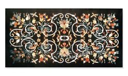 Luxurious Look Marble Dining Table Top Hand Crafted Meeting Table 30 X 60 Inches