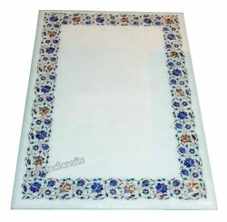 36 X 60 Inches Gemstones Inlay Work Dining Table Top Marble Reception Table