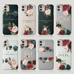 Tirita Personalised Case for iPhone 11 12 7 8 SE XR Floral Flowers Gold Monogram GBP 5.99