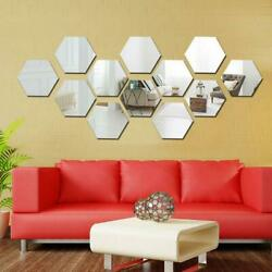 12Pcs Wall Stickers 3D Mirror Hexagon Vinyl Removable Decals Decors Home