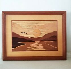 Hudson River Inlay Sunrise Signed Nelson Marquetry Wooden Wall Art