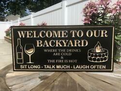 Personalized Welcome To Our Backyard Sign Black Wood Engraved Bar And Grill Plaque