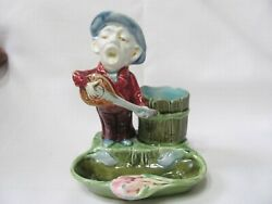 Vintage Pottery Majolica Banjo Man Astray, Matches Holder And Stricker On Side