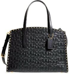 COACH Women#x27;s Black Logo Embossed Studded Leather Tote Bag $274.99