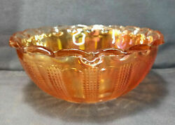 Imperial Glass Diamond Point Columns Berry Bowl Set Marigold Carnival