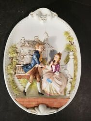 Lefton China Victorian Wall Plaques Colonial Couple 9x6x1 Rare Vintage