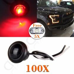 100x 3/4and039and039 Smoke/red Truck Trailer Clearance Marker Led Light+6x Free Side Light