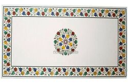 30 X 60 Inches Marble Patio Coffee Table Top Inlay Work At Border Dining Table