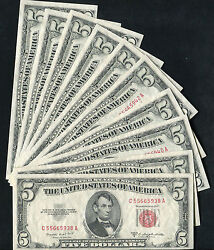 10 Consecutive 1953-b 5 Red Seal Legal Tender United States Notes Gem Unc